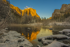 750_2782 (lgflickr1) Tags: winter california mountain snow nature yosemite water shadow mist dusk cold orange blue park settingsun sunset lake pond ice trees clouds bluesky nopeople peaceful reflection nikon d750 1424mm yosemitenationalpark nationalpark valley mountainside landscape valleyview thaw melting christmastime