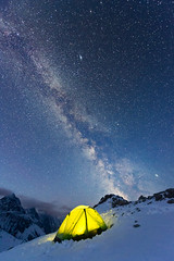 Summit 5 Billion Star Hotel (DeviantOptiks) Tags: nightphotography camping snow canada lightpainting mountains beautiful night stars landscape kananaskis nikon nightscape tent galaxy astrophotography alberta summit nightsky canmore milkyway canadianrockies