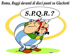 Obelix dixit (Moise-Creativo Galattico) Tags: roma vignette satira raggi sindaco attualit moise giornalismo editoriali moiseditoriali editorialiafumetti