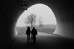 D Som Nu Fr Alltid (emocjonalna) Tags: autumn winter people urban blackandwhite bw tree fall fog mono shadows tunnel