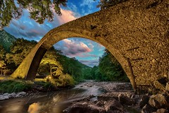 Pyli's stone bridge nightshot H.D.R (Dimitil) Tags: bridge architecture clouds river nightshot hellas greece tradition hdr arche traditionalarchitecture stonebridge ruisseau pyli thessalytrikala traditionalbrigde