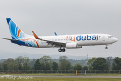 A6-FGA Boeing 737-800 FlyDubai Glasgow airport EGPF 27.05-16 (rjonsen) Tags: plane airplane airport glasgow aircraft landing delivery arrival approach egpf