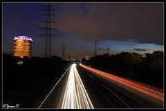 my very first exposure with my new Canon EOS 6D (Yvonne Oelsner) Tags: road street longexposure sky clouds germany highway nightshot traffic motorway autobahn ruhrgebiet oberhausen gasometer langzeitbelichtung a42 routederindustriekultur industrialheritagetrail canoneos6d