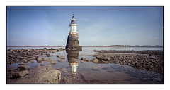 plover_scar_lighthouse_6x12_PORTRA-2 (D_M_J) Tags: camera uk light sea lighthouse house seascape west colour 120 film abbey field landscape coast kodak north large lancashire lee roll epson medium format shen filters 90mm scar portra plover circular hao cpl horseman 160 c41 polariser rodenstock 6x12 vuescan tetenal cockersands colortec v850 hzx45 colourperfect