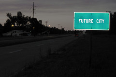 Future City (formulanone) Tags: sign illinois darkness dusk flash gloom roadside futurecity
