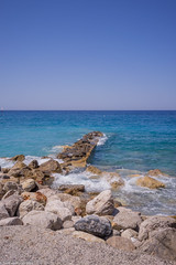 Old pier remains at the day (aleksey_kondratiev) Tags: turkey fethiye oludeniz mediterranean sea water blue wave waves seashore rocks sky pier