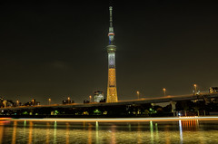 Tokyo Golden Night (703) Tags: asakusa gold golden japan lighttrails pentaxk5 skytree sumidariver tokyo tokyoskytree cityscape lightrails night nightscape nightscene nightview