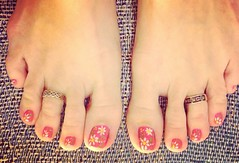 May Flowers Toes 2016 (martha.harmon) Tags: pink flowers summer flower feet daisies foot toes toe daisy pedicure toering nailart toerings lillypulitzer
