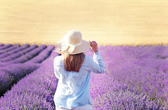 It's time for Lavender... (ktania) Tags: flowers flower color nature colors beautiful hat canon landscape colorful purple young lavender greece youngwoman purpleflower kastoria landscapephotography canonef100mmf28macro canoneos6d youngportrait taniaphotos taniakoleska