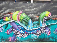 030716 C (Terterian - A million+ views, thanks.) Tags: london england capital city uk gb east end july 2016 shoreditch tower hamlets brick lane graffiti grafitti graffitti art street  art urban spraypaint painting print printing message freedom expression public colour talent promotion graphic design mural wall poster anonymous secret hidden contemporary creative artistic surreal imagination abstract mass communication social comment important idiom nikon p7800 binho tinho flood octopus giant inundation storm clouds apocalypse