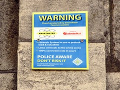 Sign of the times (pefkosmad) Tags: sign warning police gloucestershire crime gloucester theft gloucestercathedral signofthetimes