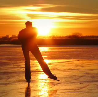 Speed skating at the golden hour