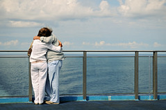 Mature couple hugging on the deck of a ferry boat between Genova and Palermo (PascalBo) Tags: nikon d300 europe italia italie italy sicily sicilia sicile boat bateau sea mer people man homme woman femme couple pascalboegli outdoors outdoor