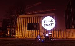 Fick That! (cinematiq) Tags: streetart belgium harry bicycles larry bici vs tnt bullitt vélo guerilla kortrijk fiets cargobike dekreun vlasvegas larryvsharry adventuremovieclub projectionbicycle
