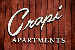 Crapi Apartments (TooMuchFire) Tags: signs typography losangeles type script apartmentbuildings humoroussigns crapi crapiapartments toomuchfire apartmentbuildingtypography 3374overlandavelosangelesca