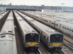 LIRR trains at the Hudson Yards (quiggyt4) Tags: nyc newyorkcity brooklyn subway view manhattan rail trains longisland amtrak transit commuting lirr pennstation njtransit barackobama 11thavenue ronpaul ows occupy zuccottipark hudsonyards occupywallstreet