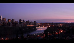 Calgary Skyline (Surrealplaces) Tags: sunset calgary skyline night downtown cityscape bluehour peacebridge