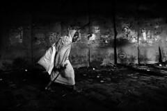 Dark to Light (ayashok photography) Tags: light bw india dark walking asian blackwhite nikon asia indian tunnel walkingstick desi stick oldlady kolkata bnw bharat kv bharath desh barat howrahbridge barath ayashok nikond300 tokina1116mm