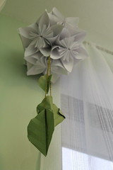 white kusudama (crayonmonkey) Tags: white flower green leaves ball paper origami modular kusudama