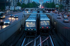 Coming and Going (Mike Franks) Tags: travel paris france metro bokeh trains ladefense journey commute publictransport arcdetriomphe commuters esplanadedeladefense