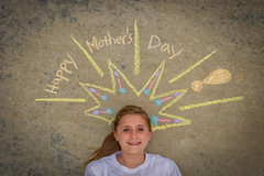 Happy Mother's Day (SCHMEGGA) Tags: portrait holiday girl beauty concrete happy chalk eyes day texas drawing mothers card northamerica crown ponytail tween lying vignette abilene supine
