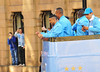Gael Clichy, Vincent Kompany and Sergio Aguero Manchester City Premier League Title victory parade. Players and staff of Manchester City parade the English Premier League Trophy through the city centre from an open-top bus Manchester, England