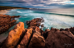 Yallingup (Sam Proctor Photography) Tags: longexposure blue sunset sea orange water evening rocks surf turquoise indianocean wave australia westernaustralia yallingup wyaduproad