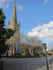 Wakefield Cathedral (Anita K Firth) Tags: blue trees sky signs church clouds religious skies religion central spire wakefield westyorkshire precinct westriding wakefieldcathedral