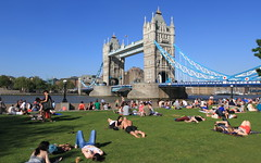 Tower Bridge (A Sutanto) Tags: park bridge family blue friends sky people sun london tower beautiful thames river out relax day view walk south crowd bank landmark icon queens getting bathing hang londoners