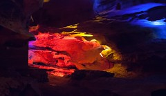 colored lights on the rocks