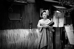 Maiko Kikushino of Miyagawacho (Michel Benghozi of Montreal) Tags: voyage travel light portrait blackandwhite bw woman cloud sun cute tourism girl beautiful beauty face japan night wonderful pose photography japanese tokyo