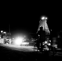 | Thirumazhisai (Kals Pics) Tags: nightphotography travel people blackandwhite india art tourism monochrome bicycle temple photography lights blackwhite nightlights traffic culture streetphotography divine holy tradition chennai hinduism colorless tamilnadu incredibleindia thirumazhisai kalspics divineindia
