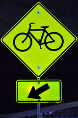 Down Bicycle (pokoroto) Tags: summer usa bicycle sign june yellow lights illinois down bloomington 2012  6  minazuki   rokugatsu monthofwater 24