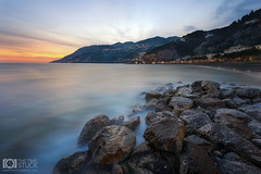 The Last Light (Giuseppe Sapori) Tags: blue sea sky italy seascape mountains nature yellow clouds dark landscape coast rocks coastal contrasts amalfi maiori