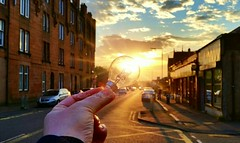 Glasgow Sunset (Michelle O'Connell Photography) Tags: sunset lightbulb temple glasgow fultonstreet knightswood michelleoconnellphotography