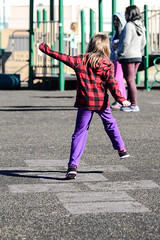 Hopscotch (Vegan Butterfly) Tags: cute girl outside person kid vegan jump jumping child outdoor adorable hopscotch hop hopping