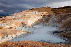 Leirnjukshraun Pools (kate willmer) Tags: orange water rock clouds iceland geology hotspring geothermal leirnjukshraun