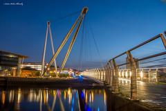 The blue hour at Newport City Footbridge. (andyp178) Tags: longexposure bridge reflection river lights footbridge dusk newport bluehour usk