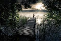 early morning by the lake (iwona_podlasinska) Tags: morning light mist lake fog child deck iwona podlasinska