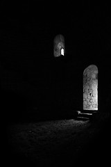 Path of light (hrdinka) Tags: light blackandwhite bw castle abandoned mystery dark austria sterreich ray place decay ruin style ruine stronghold ruined