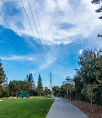 Happy Telegraph Tuesday (randyherring) Tags: california park ca blue trees sky white green nature grass playground clouds flora afternoon outdoor sidewalk wires recreation losgatos liveoakmanorpark