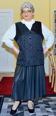 Ingrid022144 (ingrid_bach61) Tags: leather skirt blouse mature faux waistcoat pleated ruffled weste kunstleder faltenrock rschenbluse