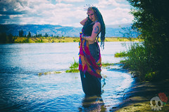 _MG_7508 (Deadly Darling DP) Tags: trees woman wet water dreadlocks river dark model woods gothic goth bellydancer jewelry crown bracelets bangles