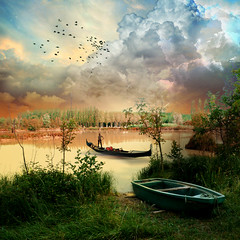 Gondolier (jaci XIII) Tags: sky lake man water birds rio gua clouds river lago person boat pessoa barco cu nuvens homem pssaros gondolier gondoleiro