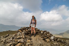Lake District  May 2016 (15) - Jayne on Hindscarth summit (Mark Schofield @ JB Schofield) Tags: england sky cliff woman lake mountains english rock canon walking landscape outdoors high path top district lakes scenic peak sharp hills national edge cumbria fells trust summit moors horseshoe northern gill tarn crags wandering cairn newlands arete coledale ghyll grisedale mountainspark 5dmk3