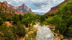 Virgin Land (djryan78) Tags: travel trees summer usa mountain mountains tree water june clouds canon river landscape flow utah nationalpark afternoon unitedstates cloudy outdoor sigma flowing zionnationalpark dslr virginriver 6d 24105 2016 washingtoncounty canon6d sigma24105