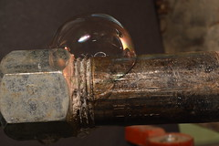 Gas leak detected (Flickr Clicks by Al) Tags: black macro water pipe bubbles gas monday leak soapy connector