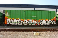 POPQUIZENRONHINDUE (KNOWLEDGE IS KING_) Tags: socal graffiti paint bomb art train tracks freight yard bench railway railfan railroad pque one popquiz enron hindu hindue gtb azm wh crew ibt tree boxcar rail car panel burner piece color fill in e2e endtoend rollingstock paintedsteel benched rails flick graff