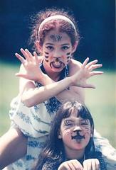Dressing up and acting (MomOfJasAndTam) Tags: cats playing jasmine tamara makeup scan acting scanned meow mybabies playingcats circa1992