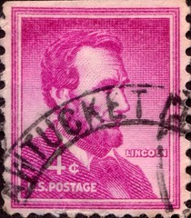 United States of America Abraham Lincoln Stamp (stompstompstamps) Tags: pink usa white america unitedstates mail stamps c president unitedstatesofamerica 4 magenta abraham stamp american lincoln northamerica presidents abrahamlincoln postagestamp postmark 4c uspostage stampcollectors